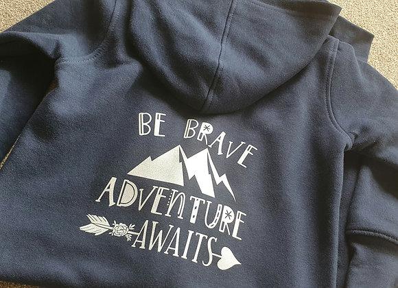 Be Brave Adventure Awaits zip-up hoodie