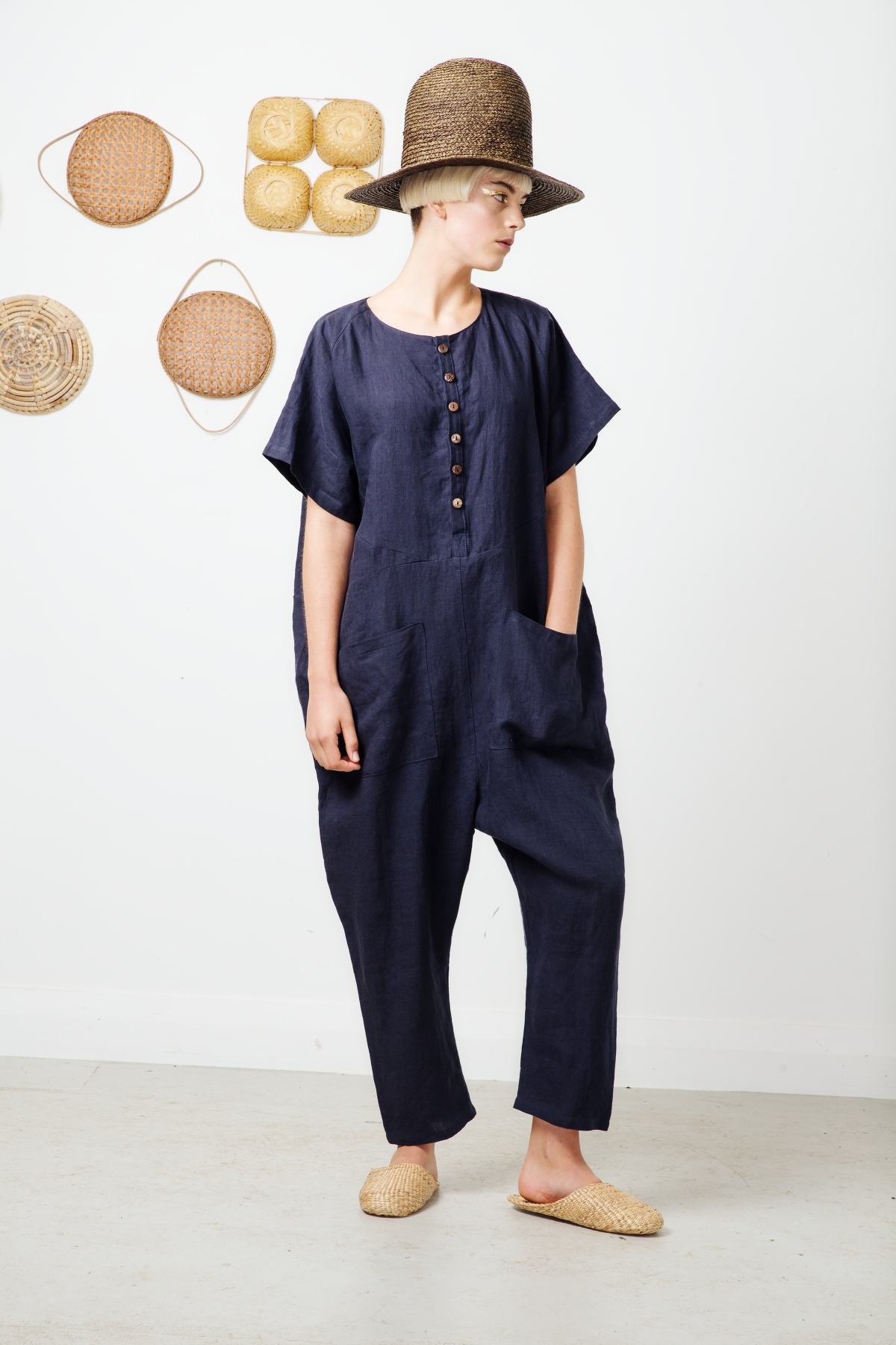 peridot jumpsuits short sleeve-navy