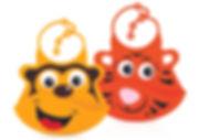 NB4398M & NB4398T Silicone Baby Bibs (220x180mm) - Monkey & Tiger