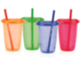 NB91200 4pk 10oz / 300ml Wash and Toss Cups with Straw
