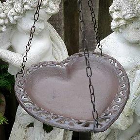 Iron Hanging Heart Bird Dish