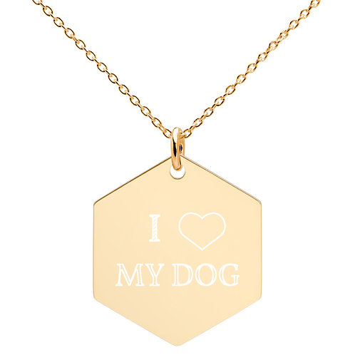 Heart My Dog Hexagon Necklace