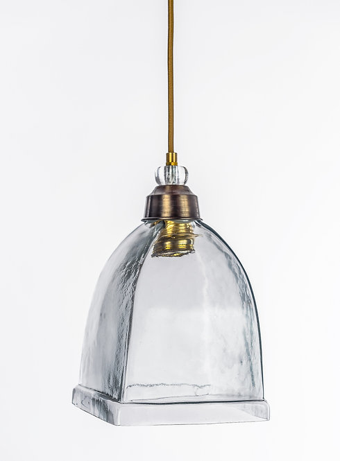 מנורת תלייה זכוכית כבל בד - שבא