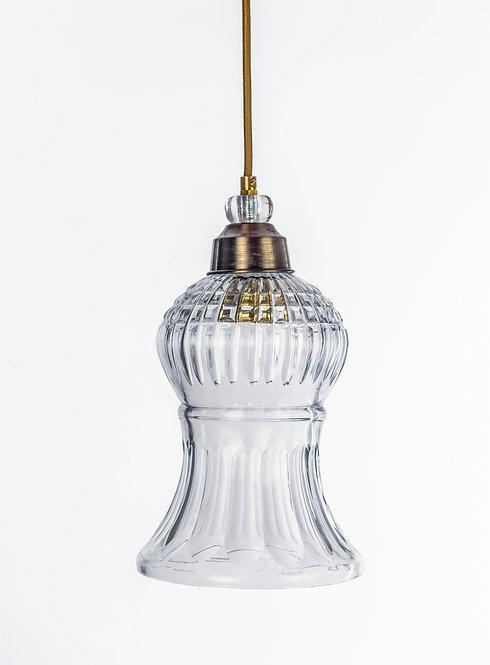 מנורת תלייה זכוכית כבל בד - פאולה