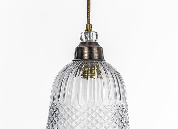 מנורת תלייה זכוכית כבל בד - אבינועם
