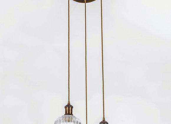 מנורת תלייה זכוכית כבל בד -דבש