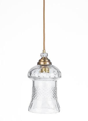 מנורת תלייה זכוכית כבל בד - אבישי