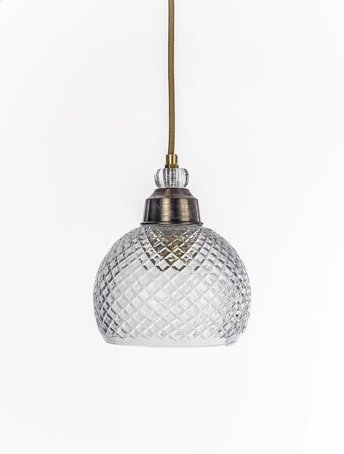 מנורת תלייה זכוכית כבל בד - נעמי