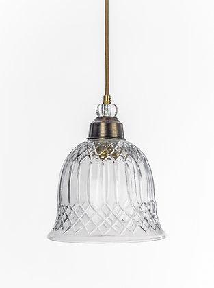 מנורת תלייה זכוכית כבל בד - רחל
