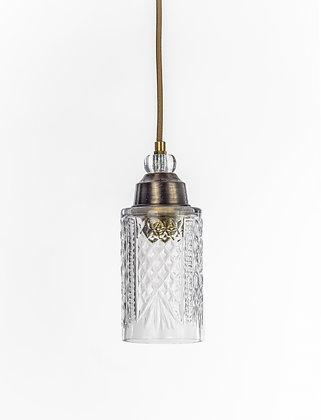 מנורת תלייה זכוכית כבל בד - ניר