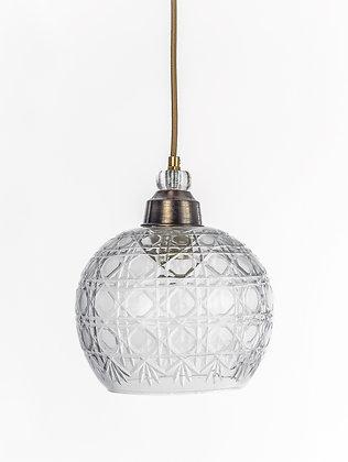 מנורת תלייה זכוכית כבל בד - פזית