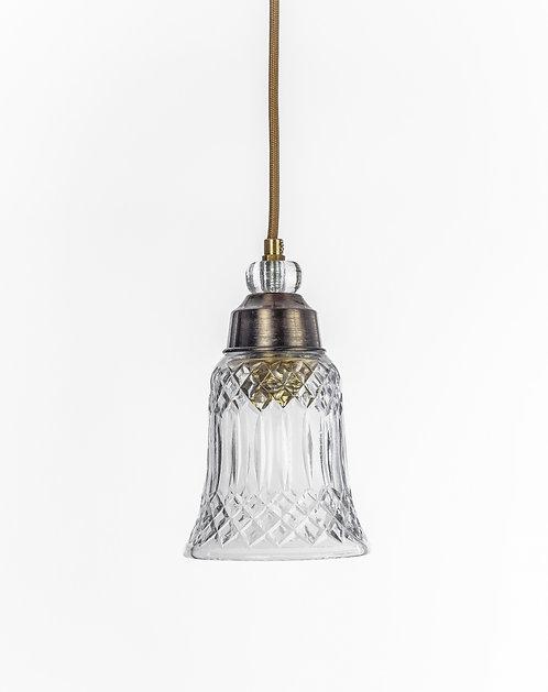 מנורת תלייה זכוכית כבל בד - קלרה