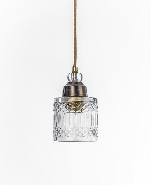 מנורת תלייה זכוכית כבל בד - ראיין