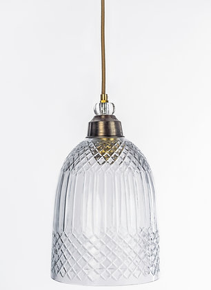 מנורת תלייה זכוכית כבל בד - פולי