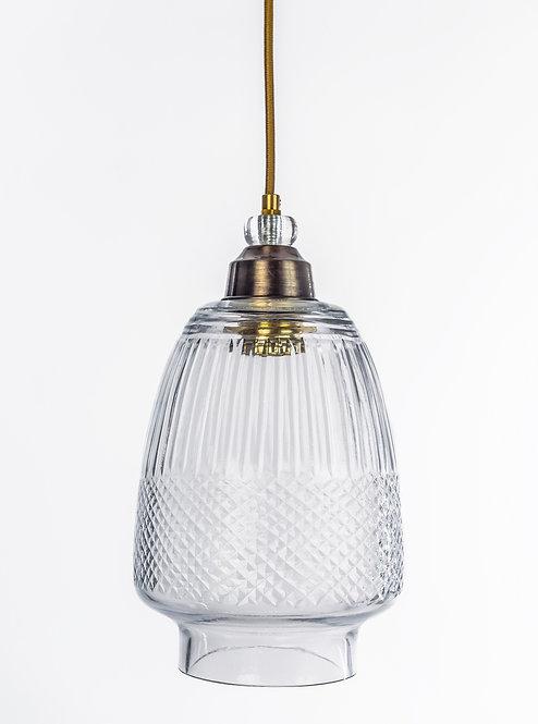 מנורת תלייה זכוכית כבל בד - קרני