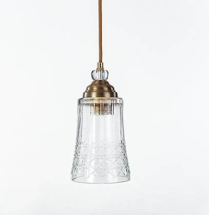 מנורת תלייה זכוכית כבל בד -גיא