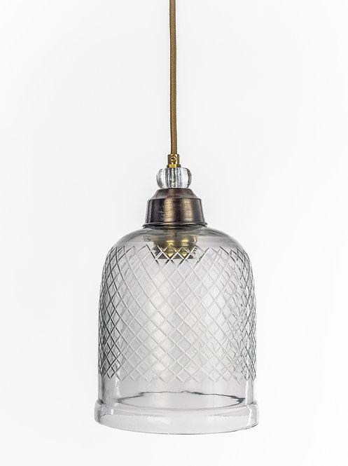 מנורת תלייה זכוכית כבל בד - שקד