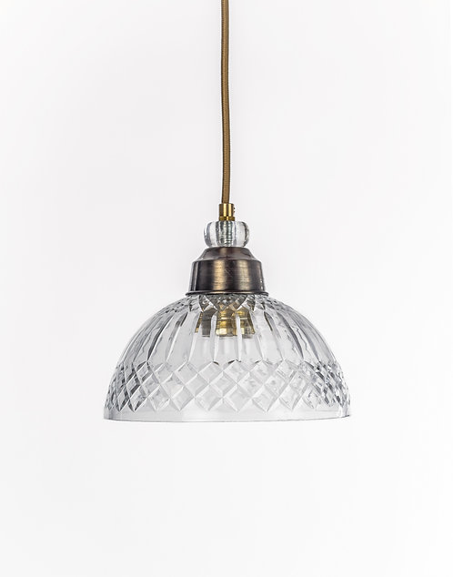 מנורת תלייה זכוכית כבל בד - קציר