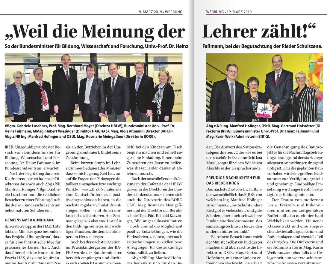 Bildungsminister Heinz Fassmann war zu Besuch!