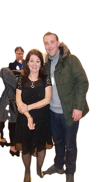 Joan Clubbs and Mart Lee at Corbridge Classic Cars project awards _