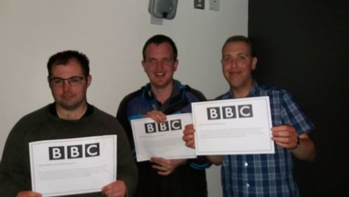 Mark, Simon and Martin Lee displaying their acknowledgement by BBC North East