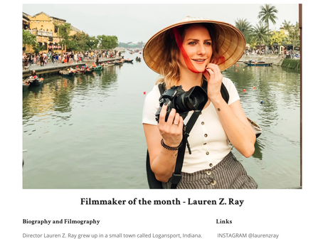 Receiving Filmmaker of the Month for 'Welcome to Monterey'