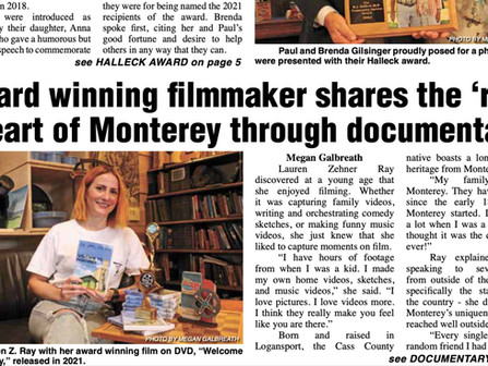 Pulaski County Journal article about my journey with 'Welcome to Monterey'!