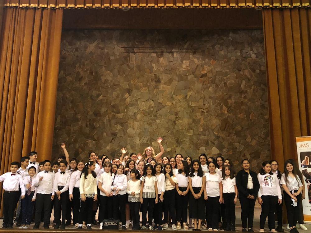 Joanna with the MQS School Choir