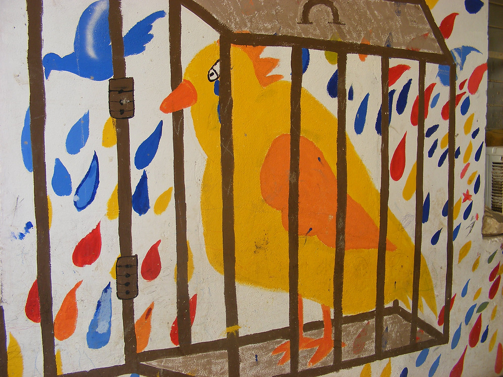 Refugee, children, mural, Caged Bird