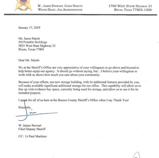 letter from Sheriff's Office