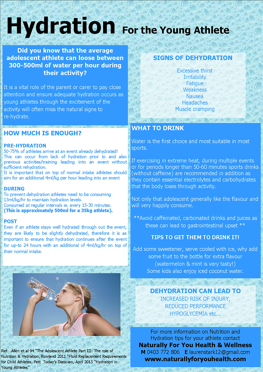 Hydration for the Young Athlete by Lauren Stark