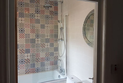 Finished shower cubicle and shower
