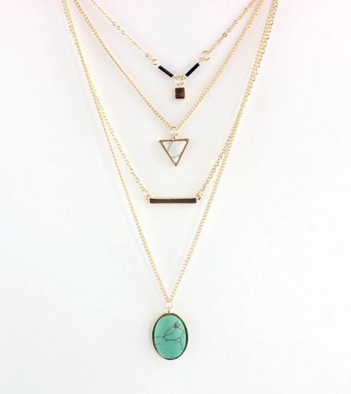 Layered turquoise or pink stone pendant necklace alluringtrend layered turquoise or pink stone pendant necklace aloadofball Images