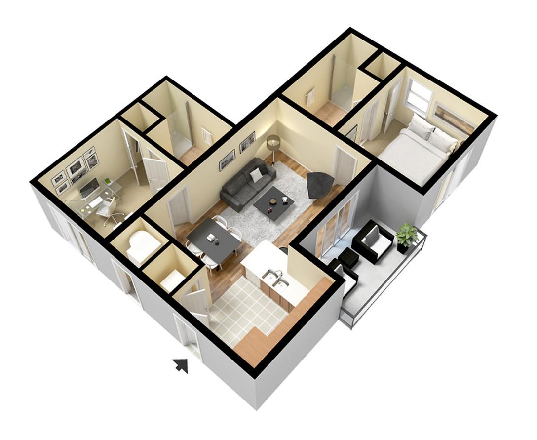 1 Bedroom + Den Flat
