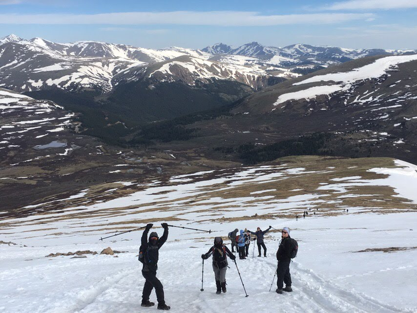 Hiking up snowy Bierstadt