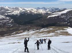 Hiking up snowy Bierstadt