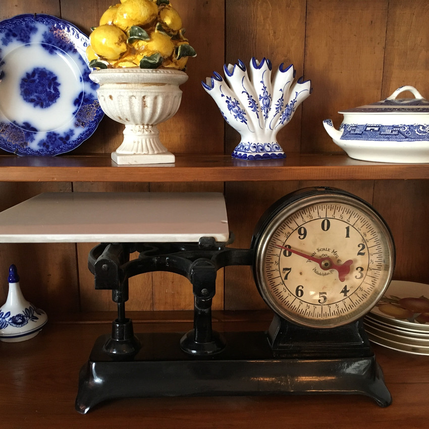 Many antique scales