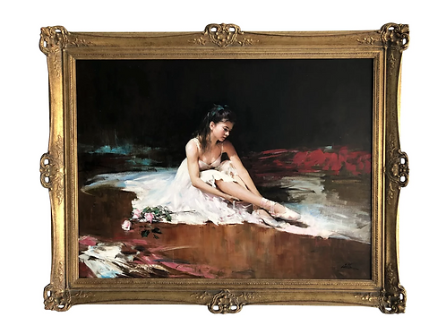 Original An He Oil on Canvas Ballerina Dancer