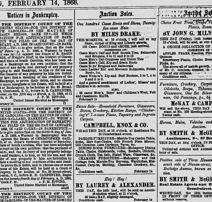 1868 Household Estate Sale