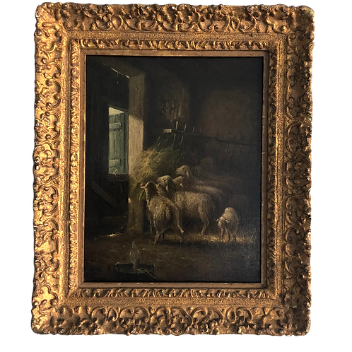 19thC Charles Emile Jacque French Barbizon Oil on Board Sheep in Stall