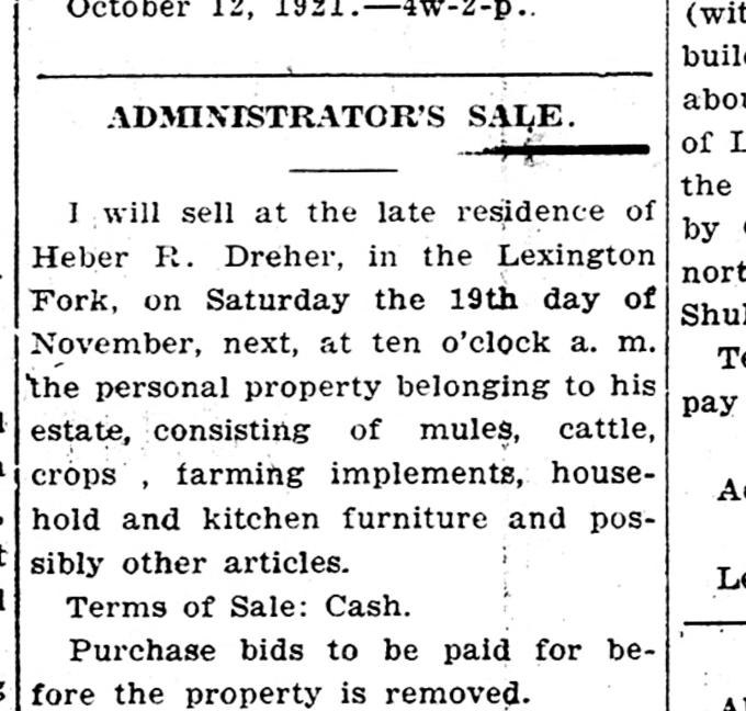 1921 Administrator Executor Estate Sale
