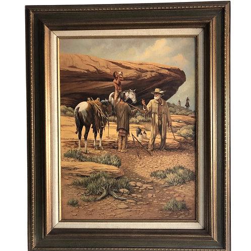 JB Clemens Original American Western Indian Traders Painting