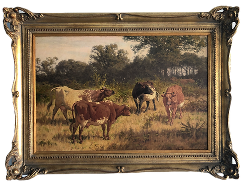 Original William Baptise Baird Landscape with Cows