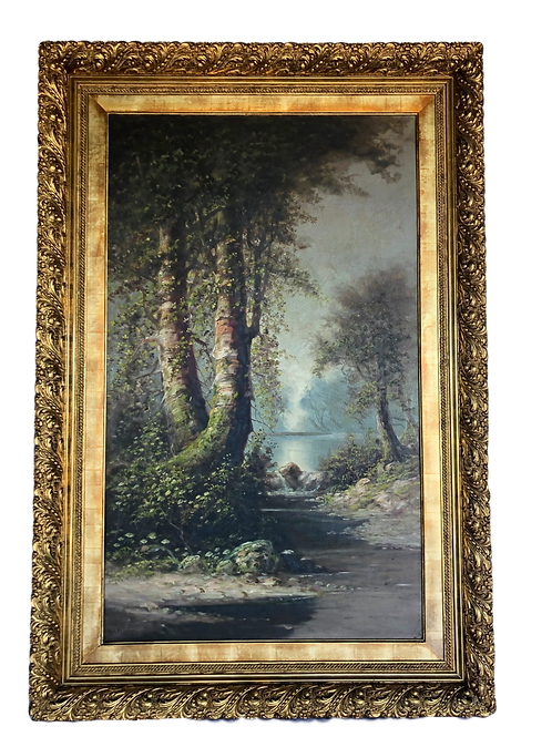 1897 ADM Cooper Large California Birches Along Stream Landscape Painting