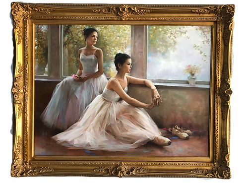 """An He (Chinese, b. 1957) Ballerina """"Next to Perform"""" Oil on Canvas"""