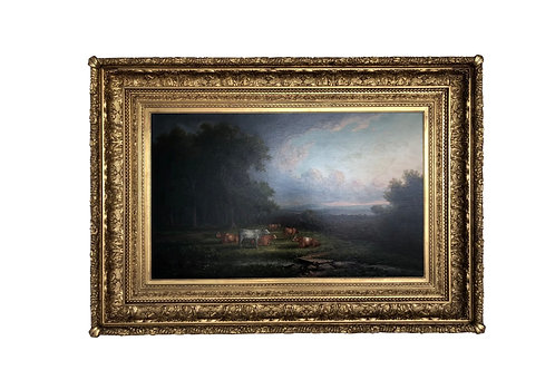 1886 John White Allen Scott Pastoral Cattle Landscape Painting