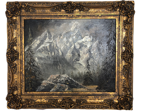 Werner Gisin Snowy Grand Teton Mountain Oil Painting