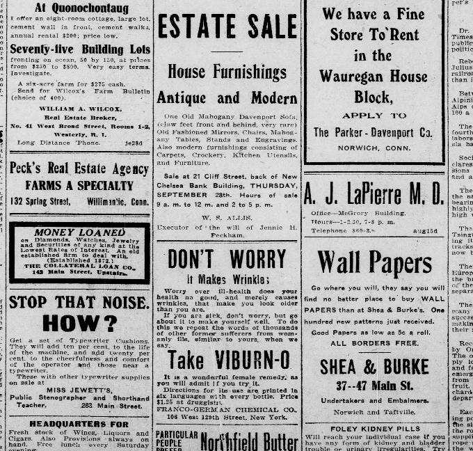 Early 20thc Estate Sale Ad