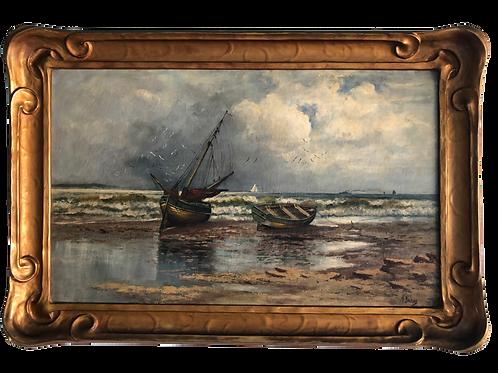 Original Manuel Valencia Oil on Canvas Harbor Scene