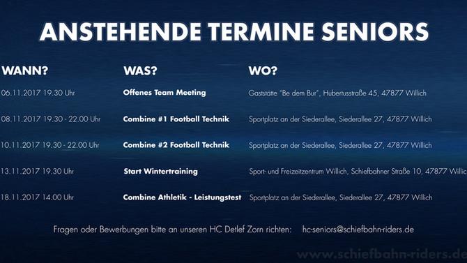 Anstehende Termine des Seniors-Teams für November veröffentlicht